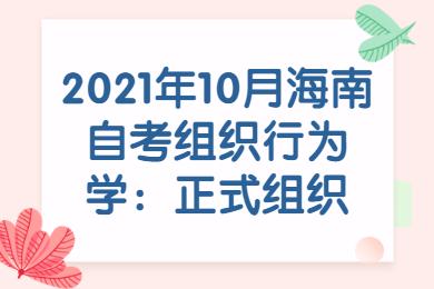 2021年10月海南自考组织行为学:正式组织